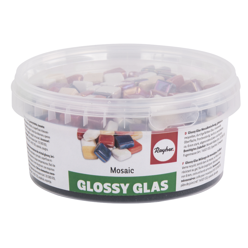 Glossy Glas Mosaikmischung, 1x1cm, (ca. 250 St.), Dose 500g, bunt