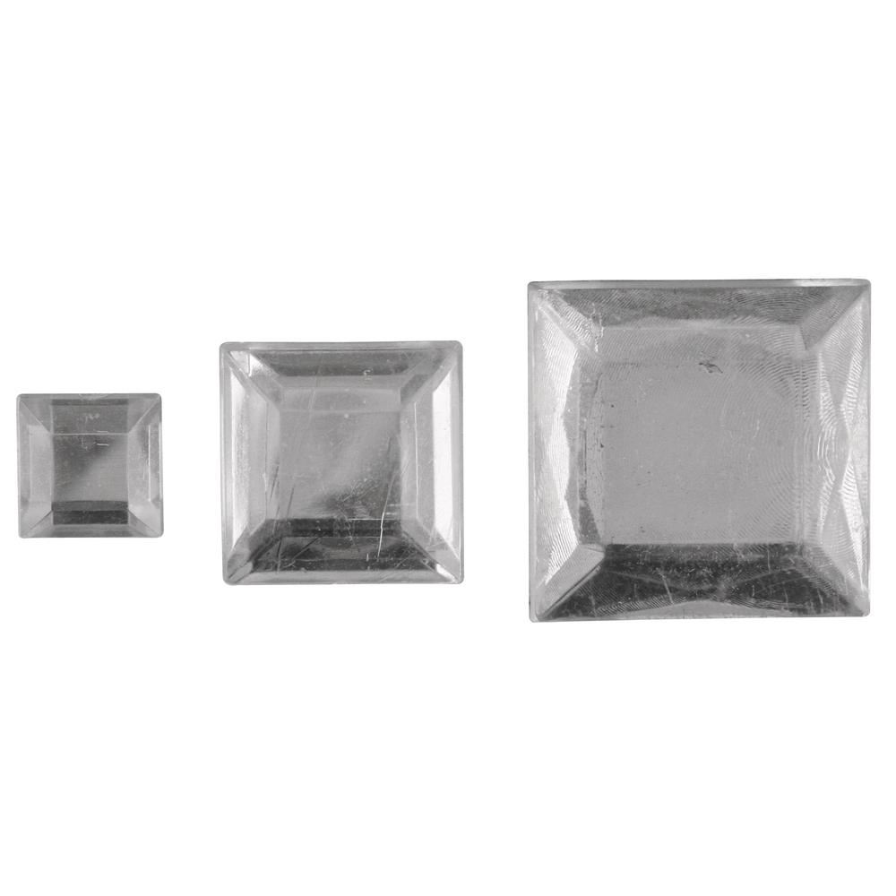 Acryl- Strassquadrate, 6,10,14mm, SB-Btl 310Stück