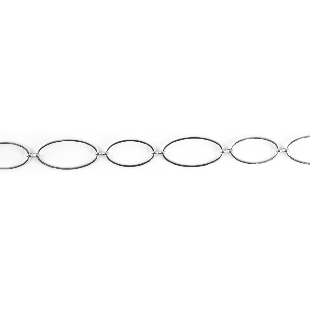 Gliederkette, oval, 2,8x1,3 u.2,2x1,1 cm, SB-Btl. 1 m, silber