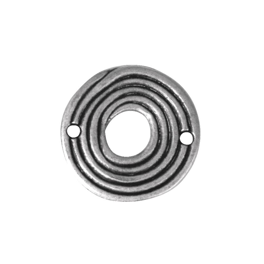 Metall-Zierelement, 26mm, 2 Löcher à 2mm ø, lose, altsilber