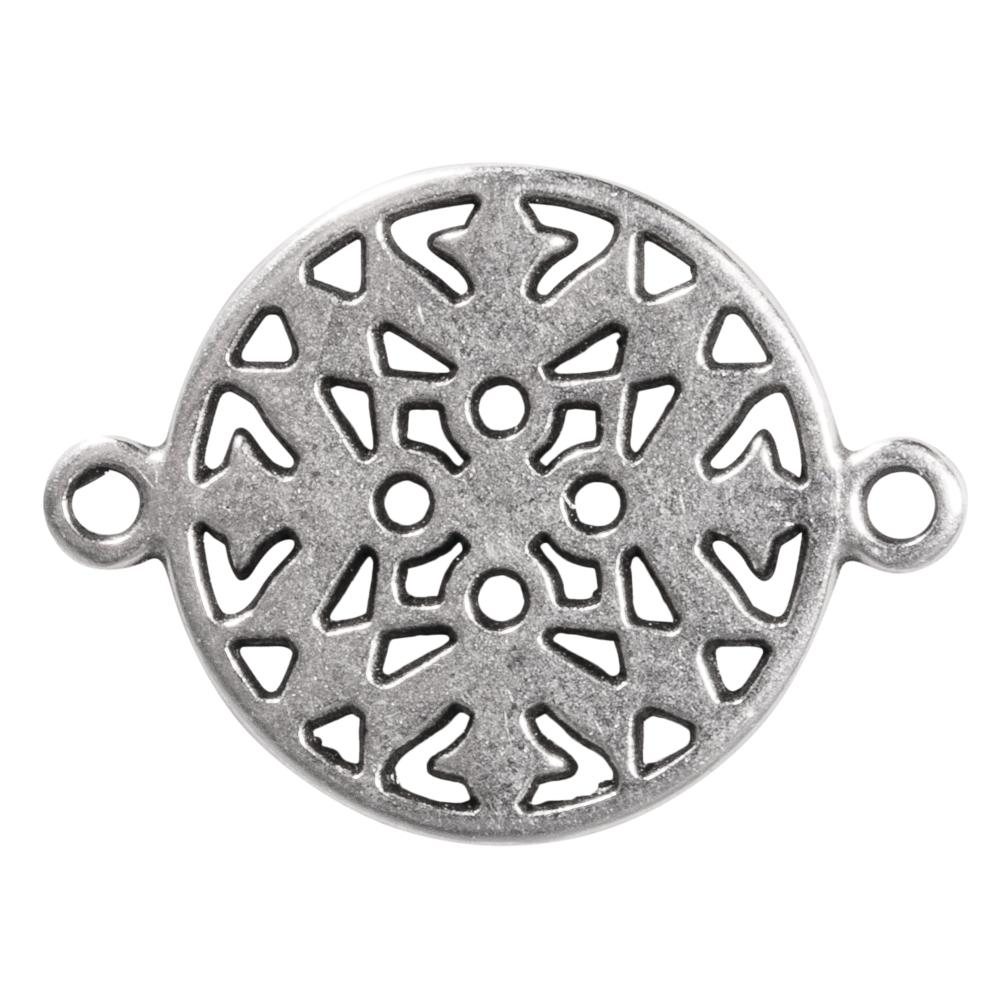 Metall-Zierelement Ornament rund, 15mm, Ösen 1mm ø, SB-Btl 1Stück