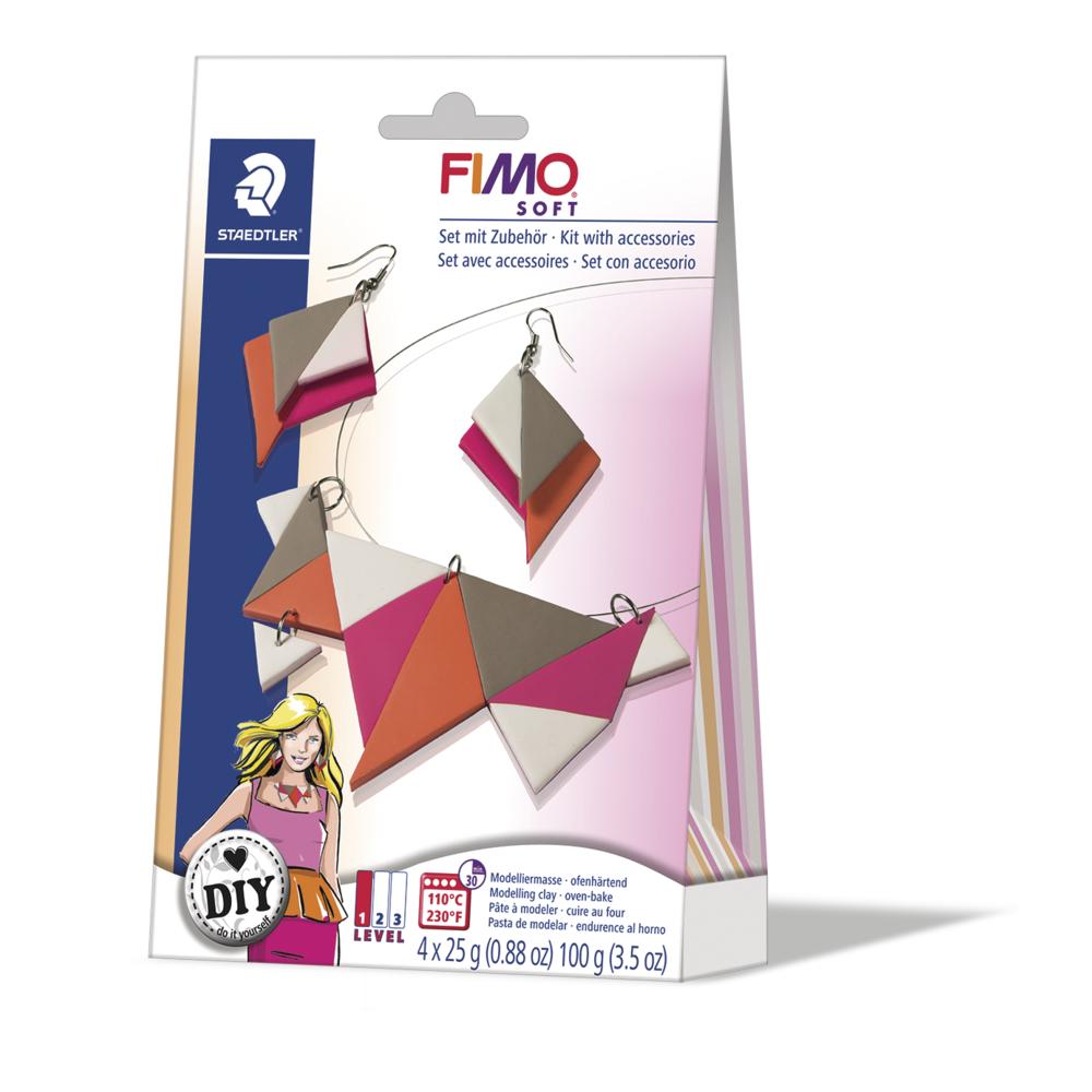 Fimo DIY Schmuckset: Triangle, 1 Kette, 1 Paar Ohrringe, SB-Box