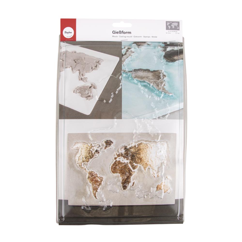 Gießform: Weltkarte, 20x30cm, Tiefe 1cm