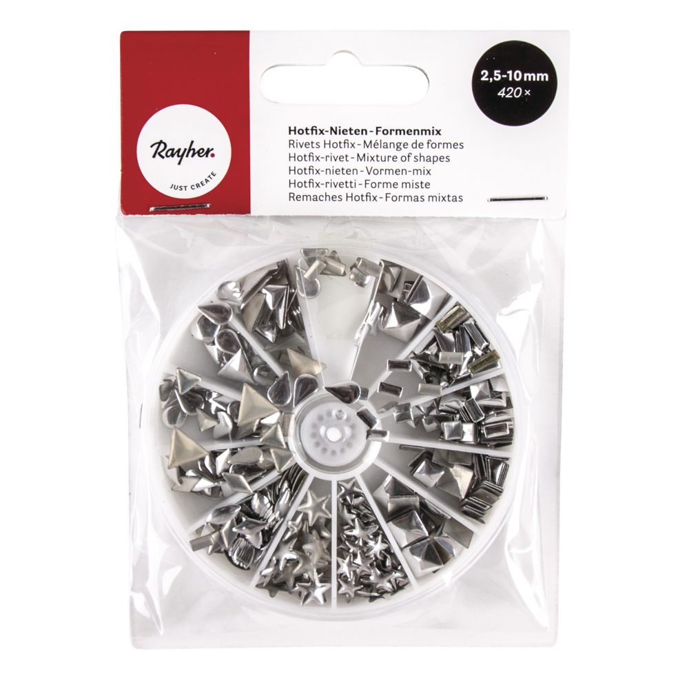 Hotfix-Nieten, Formenmix, 2,5-10 mm, sortiert, Box 420Stück, silber