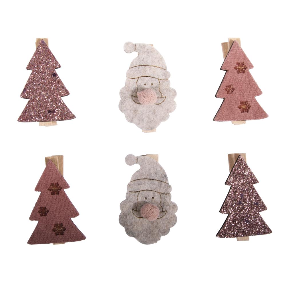 Holz Tanne und Santa auf Klammer, 3,1x4,8cm, 3 Designs, SB-Btl 6Stück