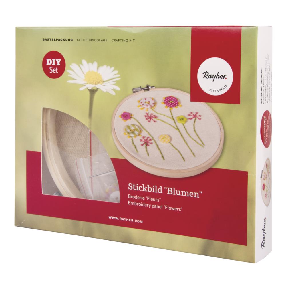 Bastelpackung: Stickbild Blumen, 13cm ø, Box 1Stück