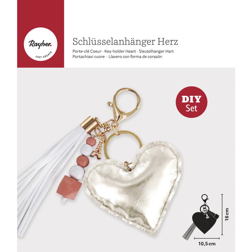 Bastelpackung: Schlüsselanhänger Herz, 10,5x16cm, SB-Btl. 1Stück