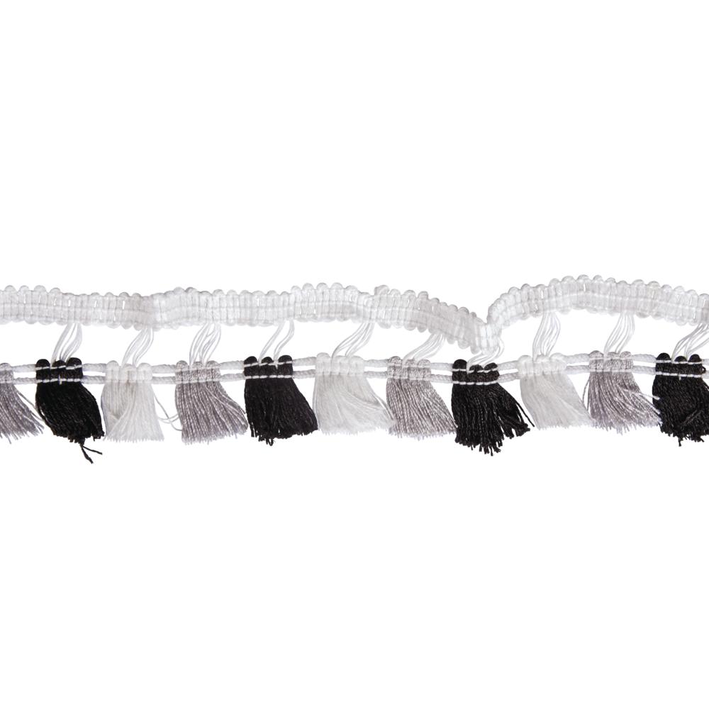 Quasten-Borte, 4,5cm, SB-Btl 2m, schwarz/weiß