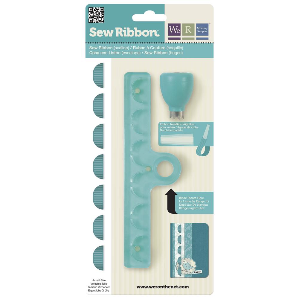 Sew Ribbon Punch&Stencil Set-Scallop, m. 3 Plastiknadeln, SB-Bli 1Set