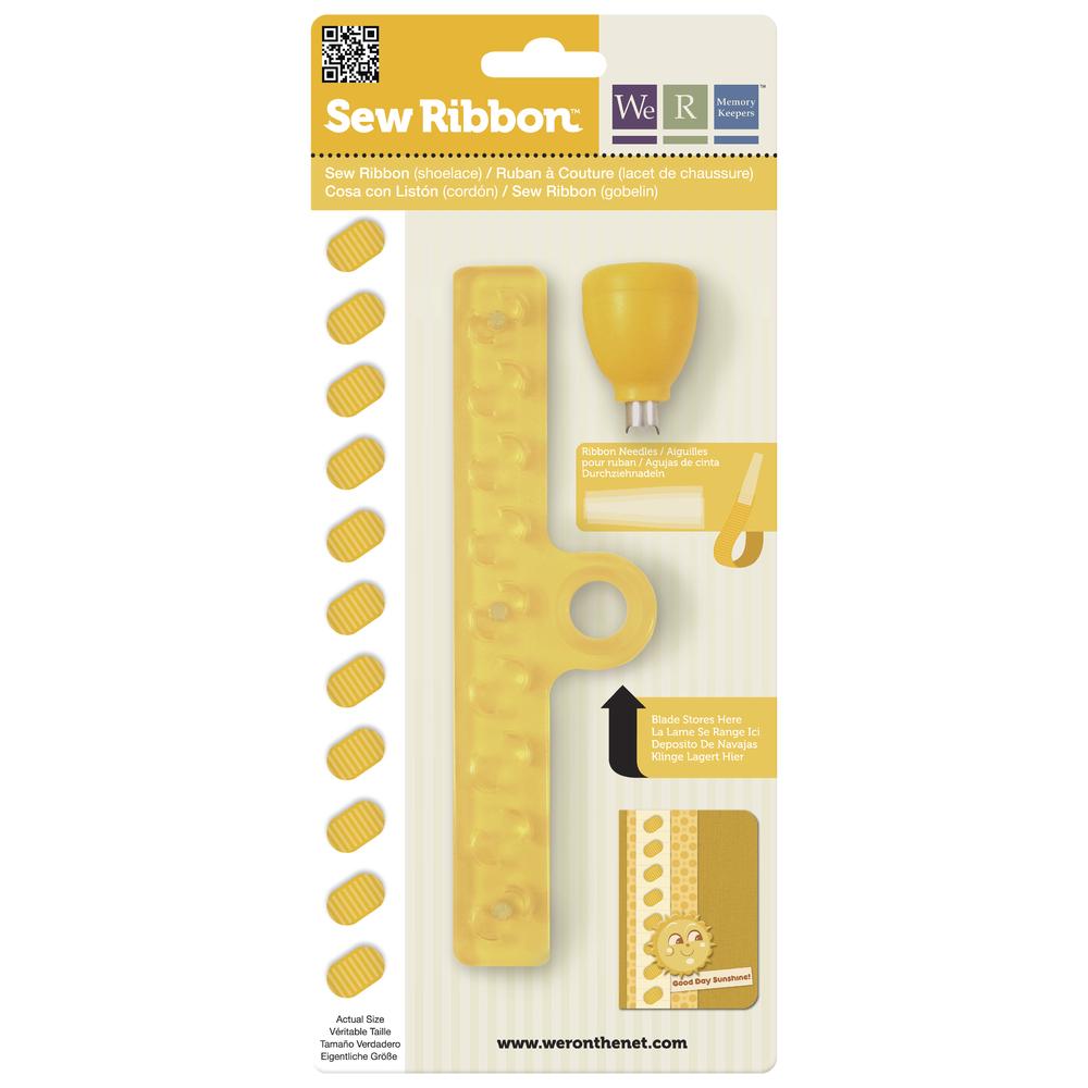 Sew Ribbon Punch&Stencil Set-Shoelace, m. 3 Plastiknadeln, SB-Bli 1Set