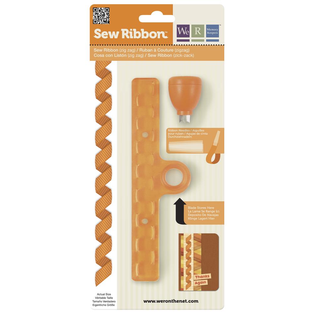 Sew Ribbon Punch&Stencil Set-ZigZag, m. 3 Plastiknadeln, SB-Bli 1Set
