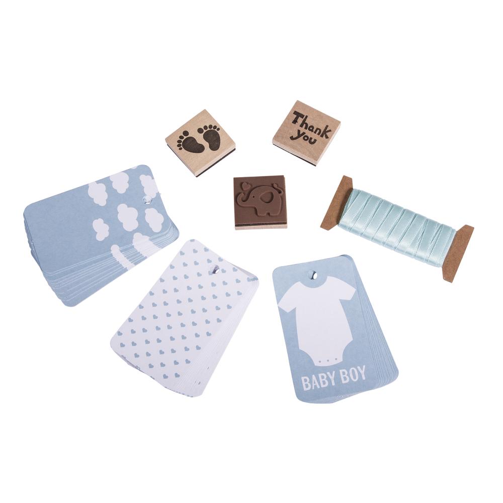 Set-Geschenkanhänger Baby, Tags+Kordel+Stempel, SB-Btl