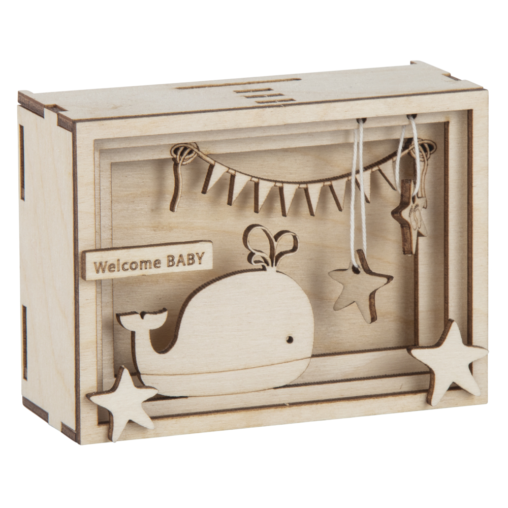 Holz 3D Geschenkbox Baby,FSCMixCred, 11,5x8,5x5cm, 15 tlg. Bausatz, Box 1Set, natur