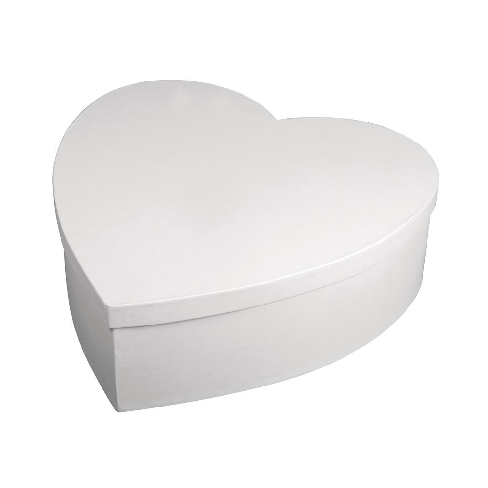 Pappmaché Box Herz, FSC Rec.100%, 30cm ø, 10cm, weiß