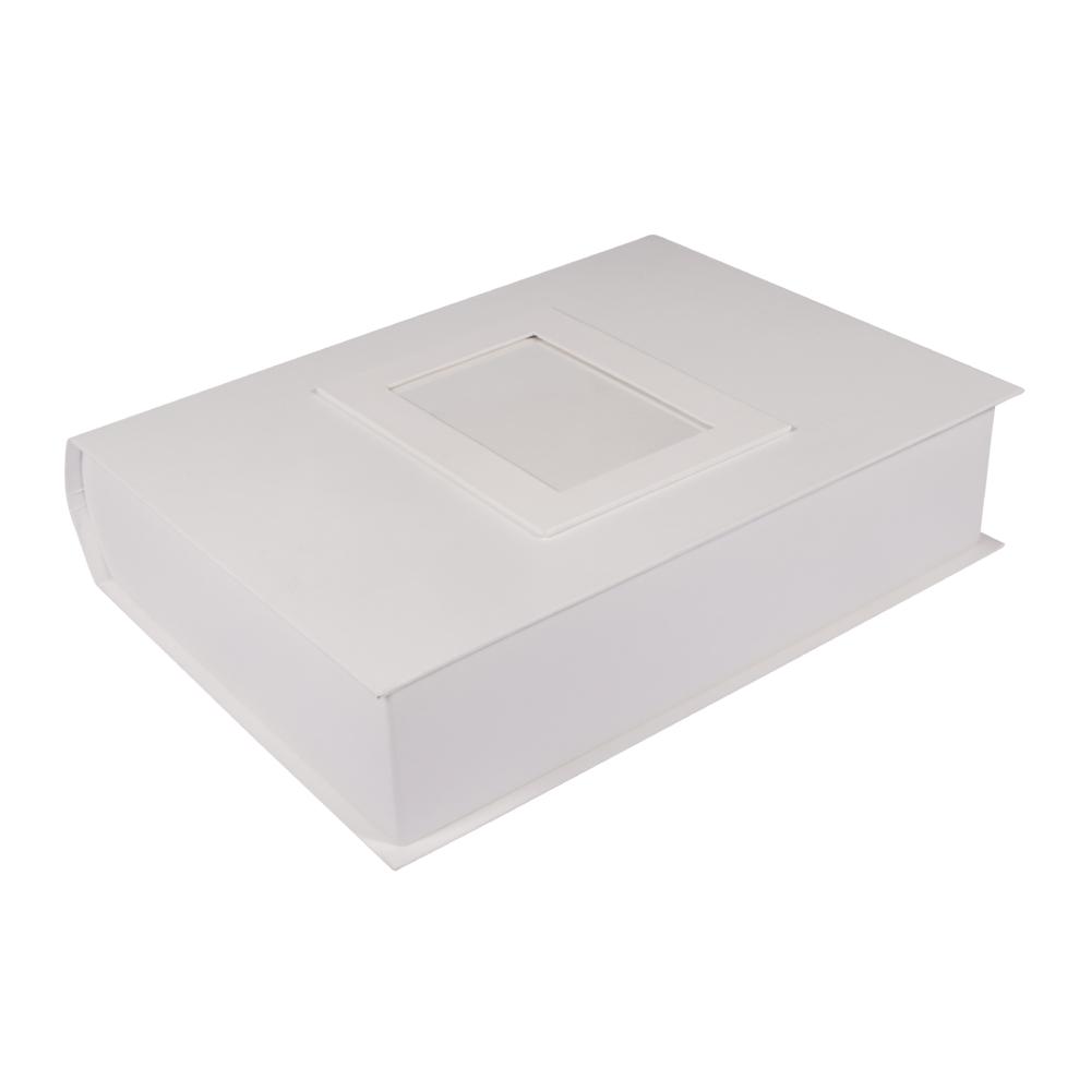 Pappm.Box Memories, FSC Rec.100%, 34x27x8cm, m. Fotorahmen&Ringmechanismus, weiß