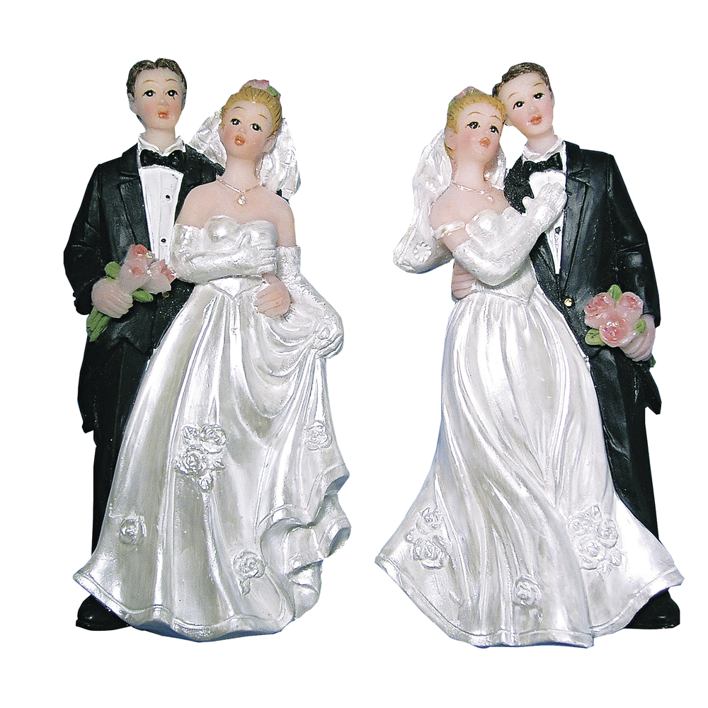 Polyresin-Brautpaar, flach, 7,5 cm, SB-Btl. 2 Stück